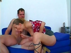 lustful honey gives horny daddy three-some head