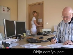 young assistant copulates with her old boss for