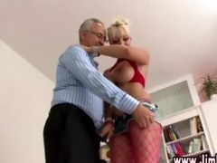 breasty golden-haired in stockings gets off