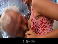 grandpa favourable to fuck a sexy young redhead