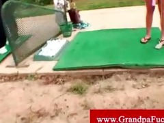 lucky old stud plays golf with hawt legal age
