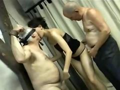 2 old men fuck a cute girl