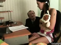 glamorous brunette receives drilled by her teacher