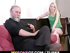 old daddy forces his sons gf engulf his dick