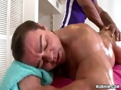 muscled dad naked as muscular masseur strokes