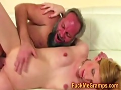 unshaved old dude copulates miniature blonde booty
