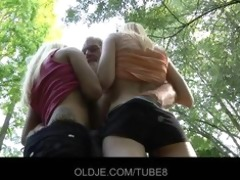 old woodcutter bonks horny blondes