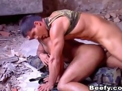 white beefy muscle daddy fucked raw