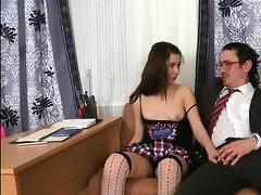 tricky teacher seducing nice-looking student