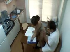 dad copulates sons gf in kitchen
