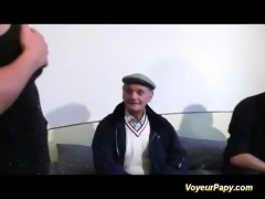 voyeur papy copulates nymph in threesome