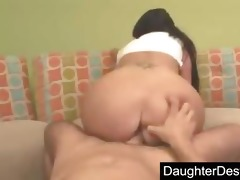 youthful daughter humiliated in her throat and